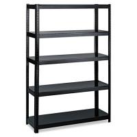 Safco Boltless Steel Shelving, Five-Shelf, 48w x 24d x 72h, Black (5244BL)