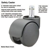 Master Caster Safety Casters,Oversize Neck, Nylon, B Stem, 110 lbs/Caster, 5/Set (64235)