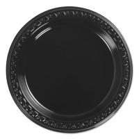 Chinet Heavyweight Plastic Plates, 6 Inch, Black, Round, 125/BG, 8 BG/CT (81406C)