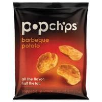 popchips Potato Chips, BBQ Flavor, 0.8 oz Bag, 24/Carton (72200)