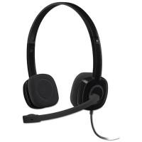 Logitech H151 Binaural Over-the-Head Stereo Headset, Black (981000587)
