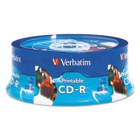 Verbatim CD-R, 700MB, 52X, White Inkjet Printable, Hub Printable, 25/PK Branded Spindle (96189)
