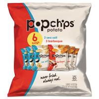 popchips Potato Chips, BBQ/Sea Salt Flavor, 0.8 oz Bag, 6/Pack (21812PK)