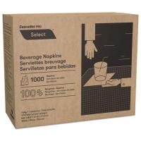 Cascades Select Beverage Napkins, 1 Ply, 8 1/2 x 8 1/2, White, 1000/PK, 4000/Carton (N010)