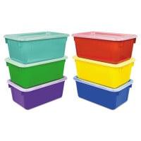 Storex Cubby Bins, 12.25 x 7.75 x 5.13, Assorted, 6/Pack (62406E06C)