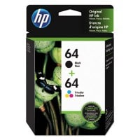 HP 64, (X4D92AN) 2-pack Black/Tri-color Original Ink Cartridges