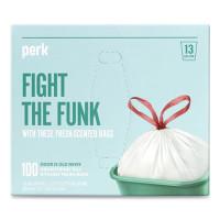 Perk Scented Drawstring Tall Kitchen Trash Bags, 13 gal, 0.9 mil, 28
