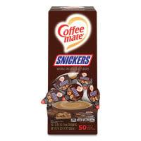 Coffee-mate Liquid Coffee Creamer, Snickers, 0.38 oz Mini Cups, 50 Cups/Box (61425BX)