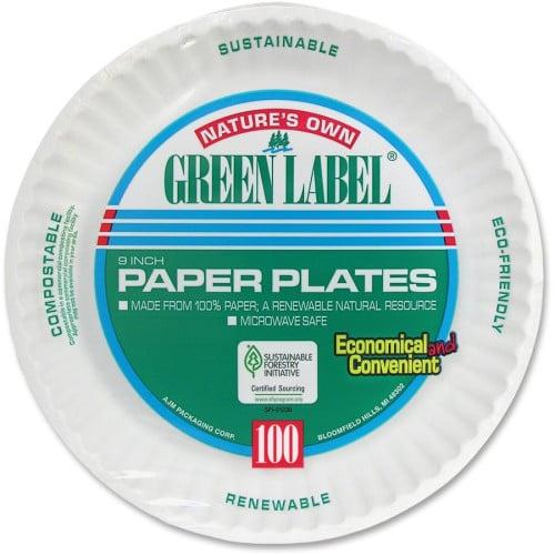 AJM Packaging Green Label Economy Paper Plates (PP9GRA)