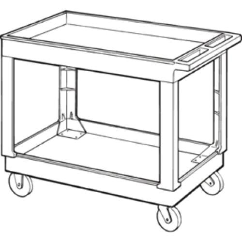 Rubbermaid Service/Utility Cart, Two-Shelf, 24w x 40d x 31.25h, Black (9T6700BLA)