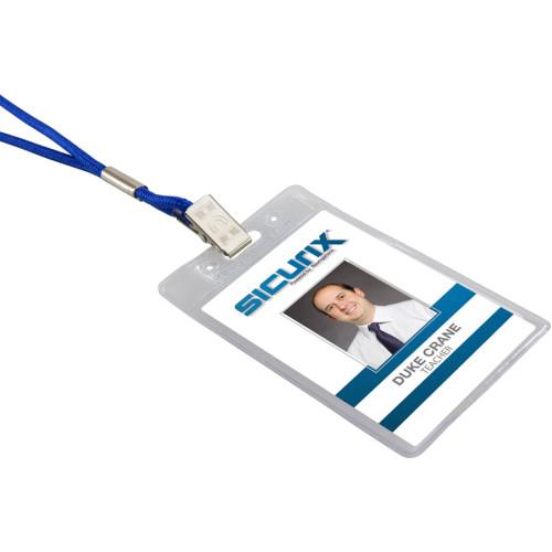 SICURIX Vinyl Punched ID Badge Holders - Vertical (67825)