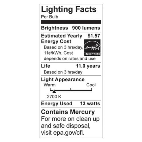 Satco 13-watt Fluorescent T2 Spiral CFL Bulb (S6235)