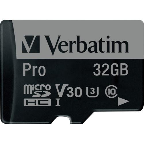 Verbatim 32GB Pro 600X microSDHC Memory Card with Adapter, UHS-I U3 Class 10 (47041)