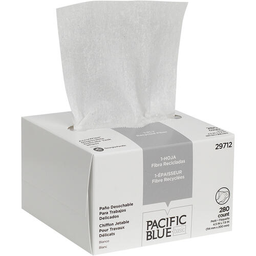 Pacific Blue Basic Recycled 1-Ply Small Disposable Delicate Task Wipers by GP Pro (29712CT)