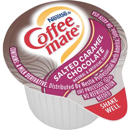 Coffee-mate Liquid Coffee Creamer, Salted Caramel Chocolate, 0.38 oz Mini Cups, 50/Box (77197)