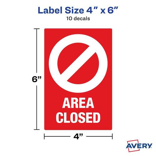 Avery Surface Safe AREA CLOSED Table/Chair Decals (83071)