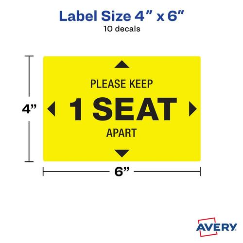 Avery Surface Safe PLEASE KEEP 1 SEAT APART Decals (83073)