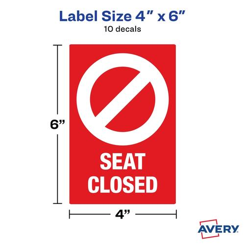 Avery Surface Safe SEAT CLOSED Chair Decals (83076)
