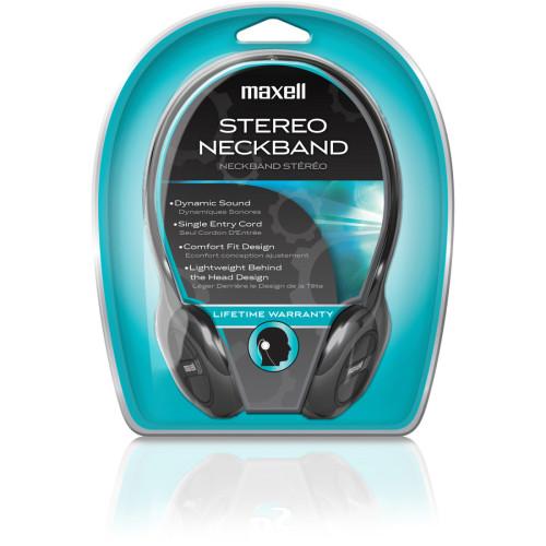 Maxell NB201 Stereo Neckband Headphones, Black, 49.5