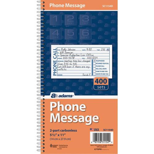 Adams Manufacturing Manufacturing Manufacturing Adams Manufacturing Manufacturing Spiral Bound Phone Message Books (SC1154D)