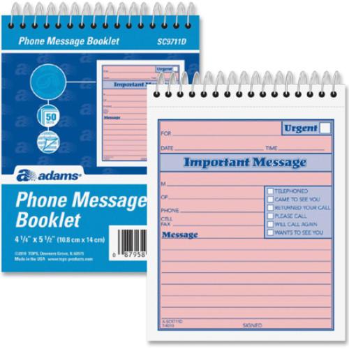 Adams Manufacturing Manufacturing Manufacturing Adams Manufacturing Manufacturing Spiral-bound Phone Message Booklet (SC9711D)