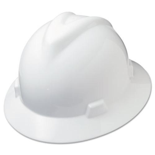 MSA V-Gard Full-Brim Hard Hats, Ratchet Suspension, Size 6 1/2 - 8, White (475369)