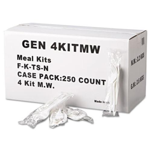 GEN Wrapped Cutlery Kit, Fork/Knife/Spoon/Napkin, Mediumweight, Polypropylene Plastic, White, 250/Carton (4KITMW)