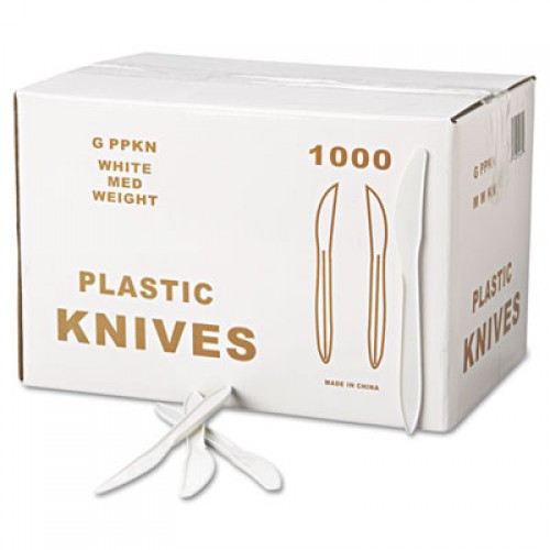 GEN Medium-Weight Cutlery, Knife, White, 1000/Carton (PPKN)