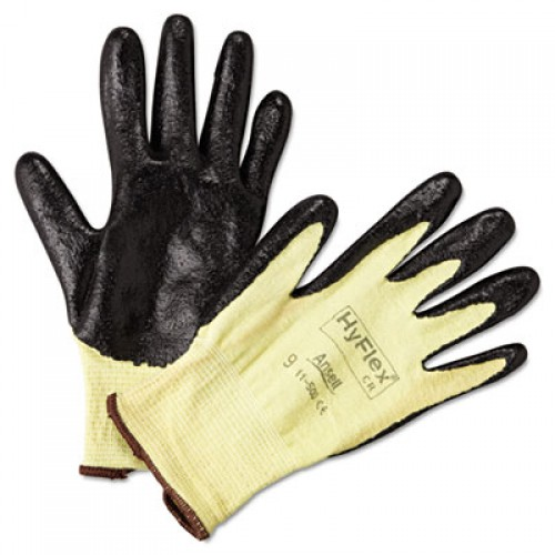 Ansell HyFlex Ultra Lightweight Assembly Gloves, Black/Yellow, Size 9, 12 Pairs (115009)