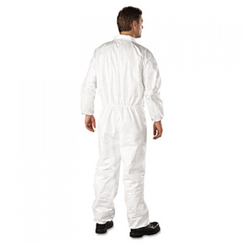 DuPont Tyvek Elastic-Cuff Coveralls, HD Polyethylene, White, Large, 25/Carton (TY125SL)