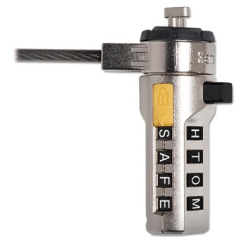 Kensington WordLock Portable Combination Laptop Lock, 6ft Steel Cable, Black (64684)