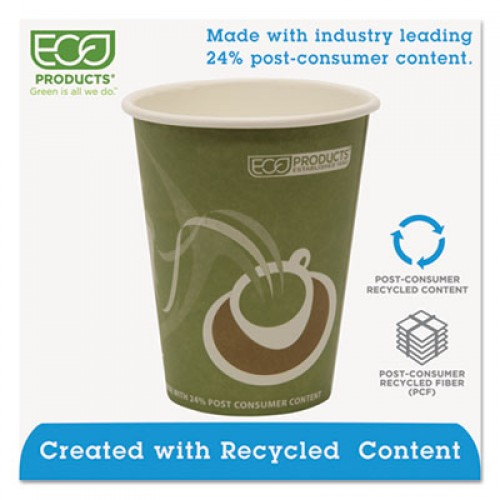 Eco-Products Evolution World 24% Recycled Content Hot Cups - 12oz., 50/PK, 20 PK/CT (EPBRHC12EW)