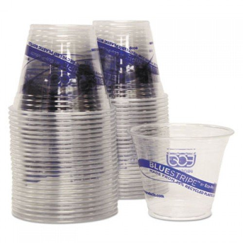 Eco-Products BlueStripe 25% Recycled Content Cold Cups Convenience Pack, 9 oz, 50/PK (EPCR9PK)