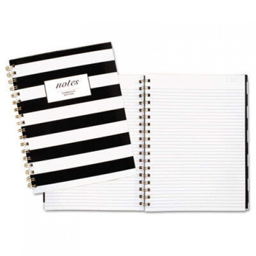 Cambridge Black & White Striped Hardcover Notebook, 1 Subject, Wide/Legal Rule, Black/White Stripes Cover, 9.5 x 7.25, 80 Sheets (59012)