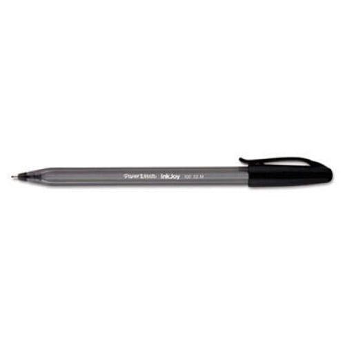 Paper Mate InkJoy 100 Stick Ballpoint Pen Value Pack, 1mm, Black Ink, Smoke/Black Barrel, 48/Box (1951377)