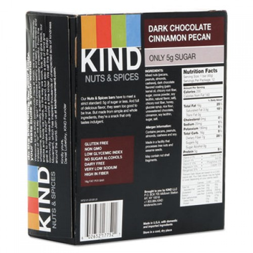 KIND Nuts and Spices Bar, Dark Chocolate Cinnamon Pecan, 1.4 oz, 12/Box (17852)