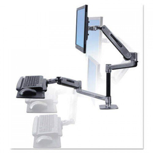 Ergotron WorkFit-LX Sit-Stand Workstation Mount System, Polished Aluminum (45405026)
