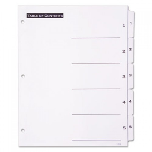 Office Essentials Table 'n Tabs Dividers, 5-Tab, 1 to 5, 11 x 8.5, White, 1 Set (11666)