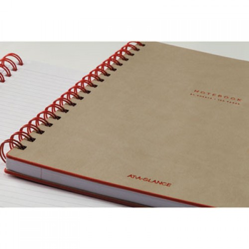 AT-A-GLANCE Collection Twinwire Notebook, 1 Subject, Wide/Legal Rule, Tan/Red Cover, 9.5 x 7.25, 80 Sheets (YP14007)