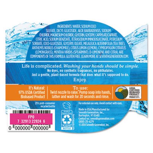 Seventh Generation Natural Hand Wash, Purely Clean, Fresh Lemon & Tea Tree, 12 oz Pump Bottle (22924EA)