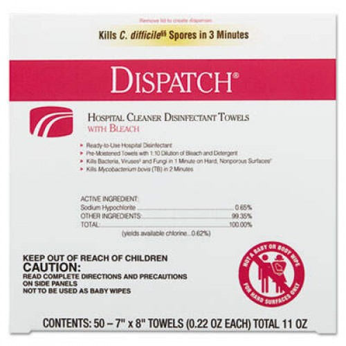 Clorox Dispatch Cleaner Disinfectant Towels with Bleach, 7 x 8, 50/Box, 6 Boxes/Carton (69101)