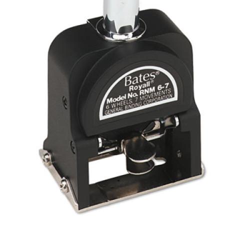 Bates Royall Economy Numbering Machine, Six Wheels, Pre-Inked/Re-Inkable, Black (9806450)