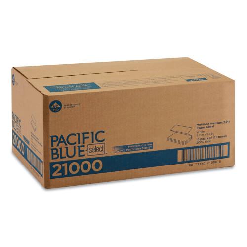 Georgia-Pacific Blue Select Multi-Fold 2 Ply Paper Towel, 9 1/5 x 9 2/5, White,125/PK, 16 PK/CT (21000)