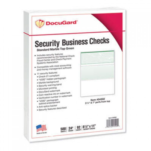 DocuGard Standard Security Check, 11 Features, 8.5 x 11, Green Marble Top, 500/Ream (04502)