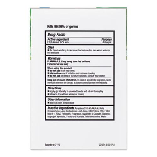 Clorox GBG AloeGel Instant Hand Sanitizer, 800 mL Bag-in-a-Box, 12/Carton (32376)