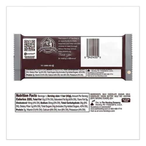 Hershey's Chocolate Bars, Milk Chocolate, 55.8 oz, 36/Box (779136)
