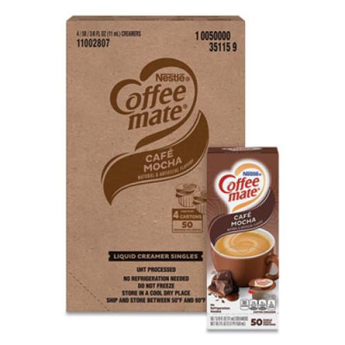Coffee-mate Liquid Coffee Creamer, Cafe Mocha, 0.38 oz Mini Cups, 50/Box, 4 Boxes/Carton, 200 Total/Carton (35115CT)