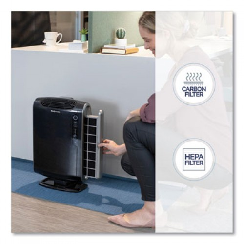 Fellowes HEPA and Carbon Filtration Air Purifiers, 200-400 sq ft Room Capacity, Black (9286101)