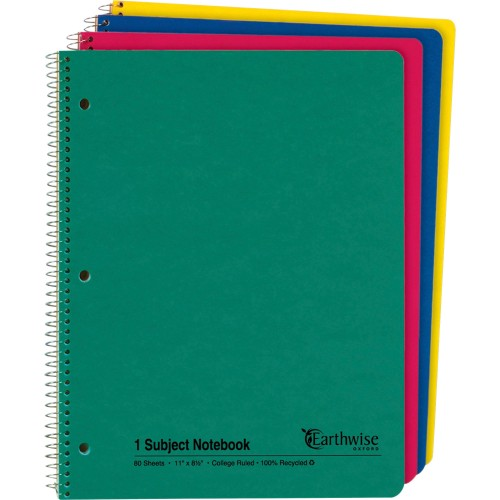 TOPS Ampad Oxford Earthwise Recycled 3HP Notebooks - Letter (25206)