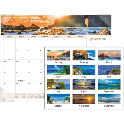 AT-A-GLANCE 89803 Panoramic Seascape Scene Monthly Desk Pad